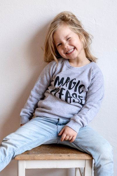 mmies Kids Sweatshirt MAGIC PLEASE grau/schwarz