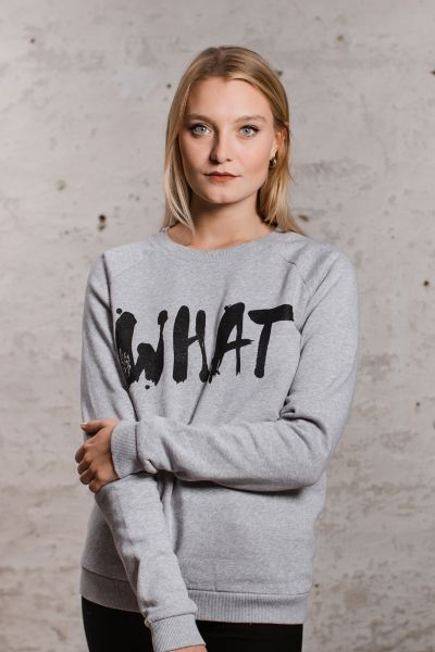 mmies Unisex Sweatshirt WHAT grau/schwarz